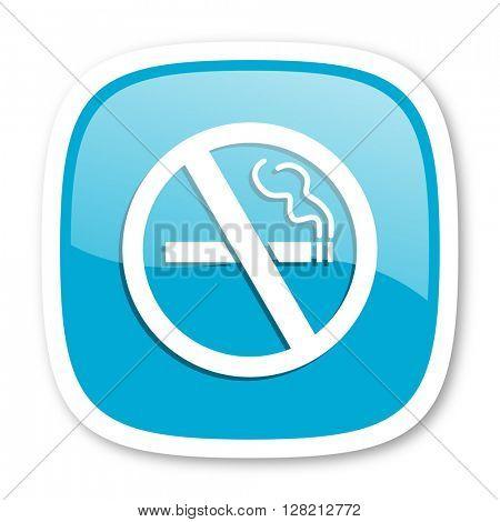 no smoking blue glossy icon