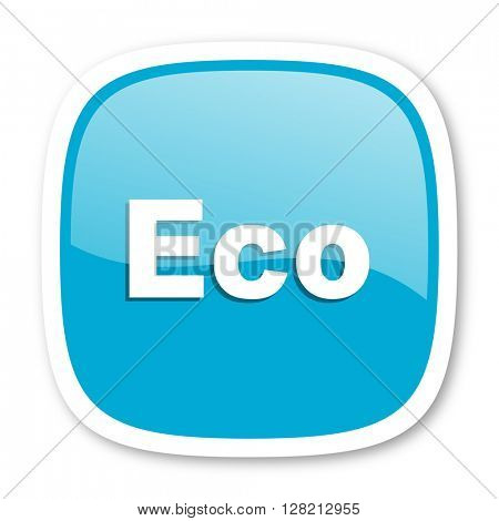 eco blue glossy icon