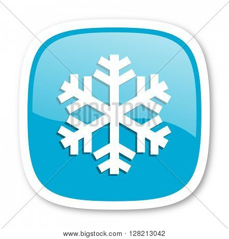snow blue glossy icon
