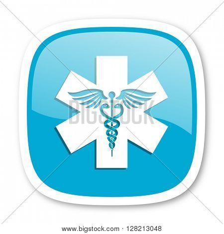emergency blue glossy icon