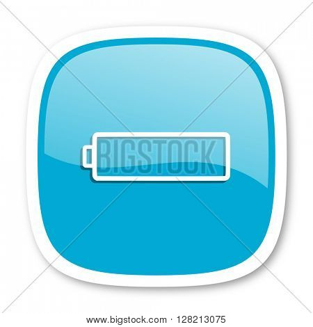 battery blue glossy icon