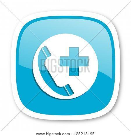 emergency call blue glossy icon