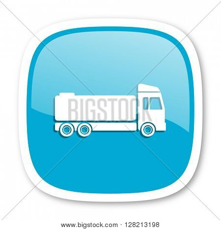 truck blue glossy icon