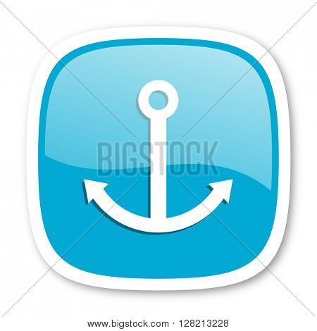 anchor blue glossy icon