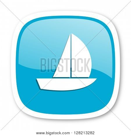 yacht blue glossy icon