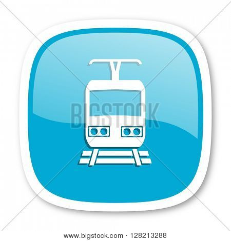 train blue glossy icon