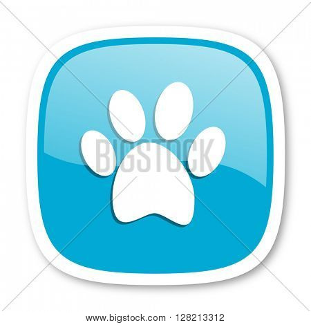 foot blue glossy icon