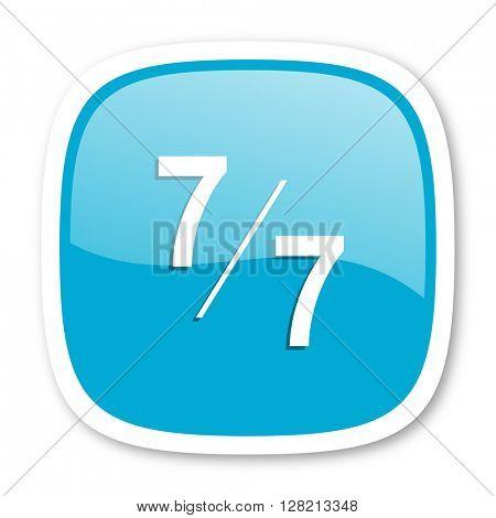 7 per 7 blue glossy icon