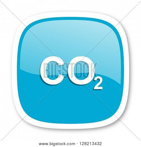 carbon dioxide blue glossy icon
