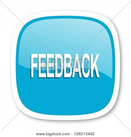 feedback blue glossy icon