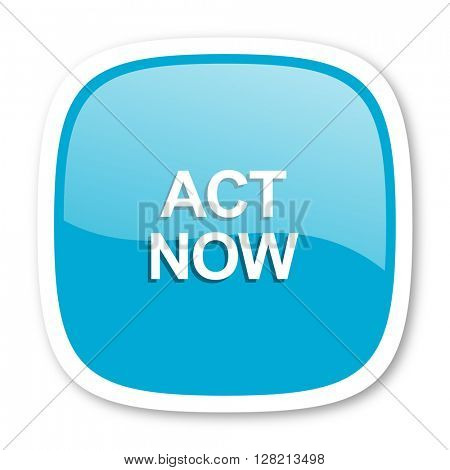 act now blue glossy icon