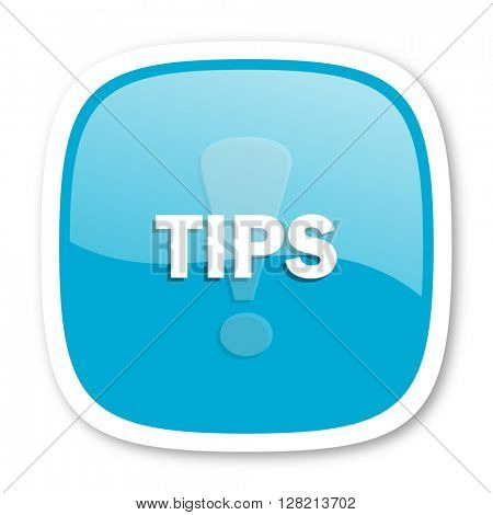 tips blue glossy icon