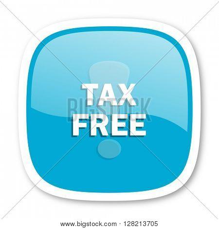 tax free blue glossy icon