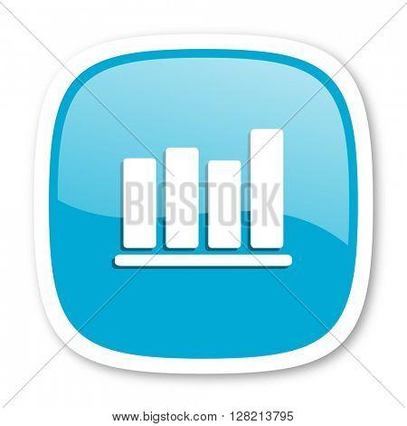 bar chart blue glossy icon