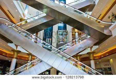 Dubai U.A.E. - February 18 2007: The escalators of the Wafy City Mall