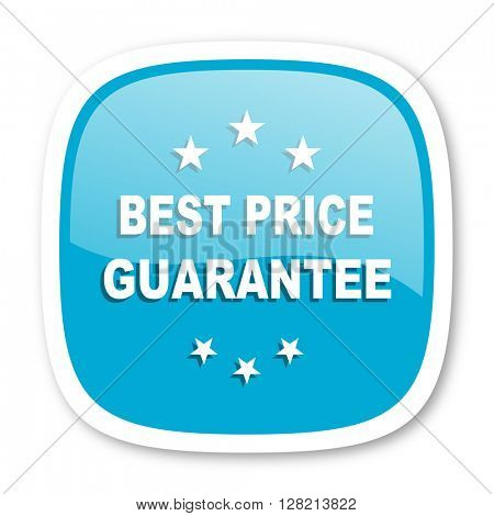 best price guarantee blue glossy icon