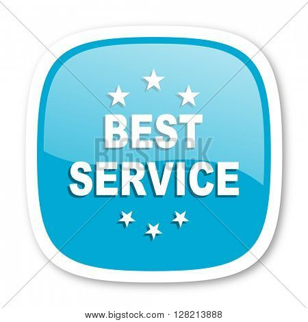 best service blue glossy icon