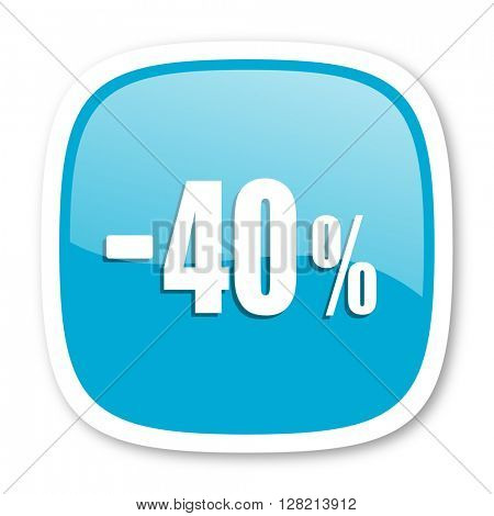 40 percent sale retail blue glossy icon