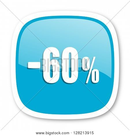 60 percent sale retail blue glossy icon