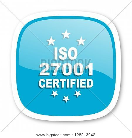 iso 27001 blue glossy icon