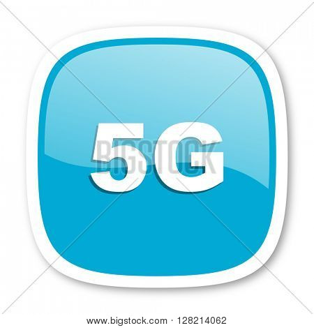 5g blue glossy icon
