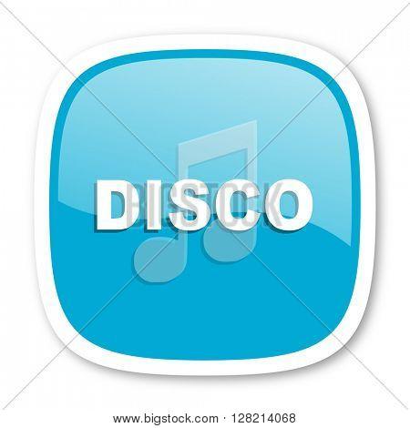 disco music blue glossy icon