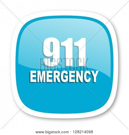 number emergency 911 blue glossy icon