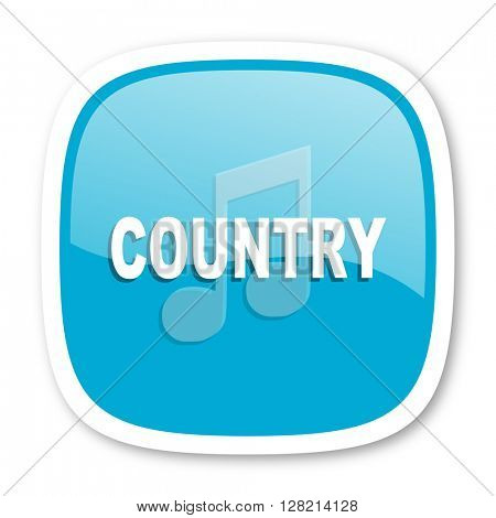 music country blue glossy icon
