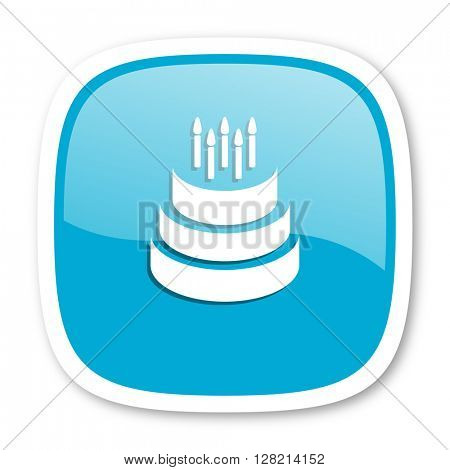 cake blue glossy icon