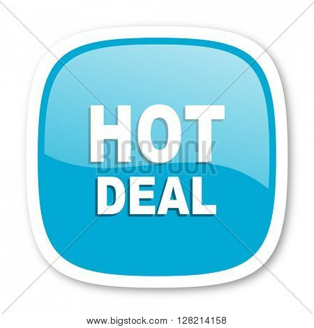 hot deal blue glossy icon