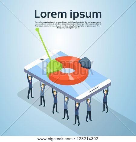 Business People Group Hold Cell Smart Phone With Pie Diagram Finance Graph Statistic 3d Isometric Vector Illustration