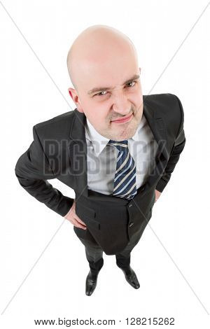 mad businessman full body in a white background