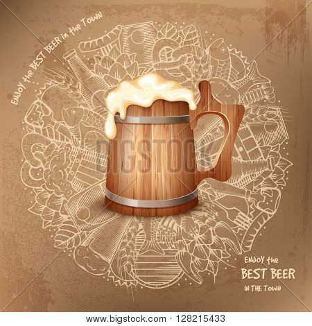 Beer round design in Outline Hand Drawn Doodle Style with Different Objects on Beer Theme. Beer and