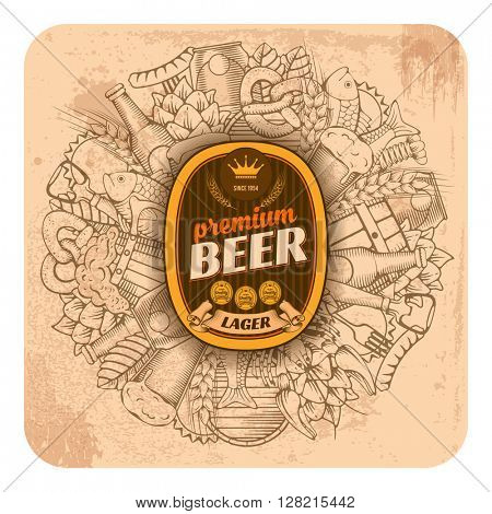 Beer coaster design in outline hand drawn doodle style with different beer and snack objects. Paste your company logo in center. All elements are separated and editable. Vector Illustration.