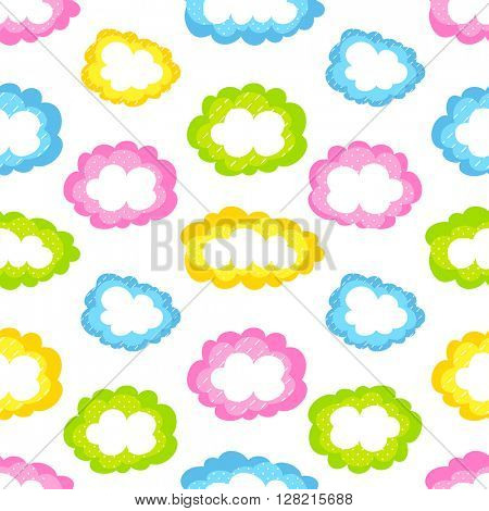 colored clouds seamless pattern vector
