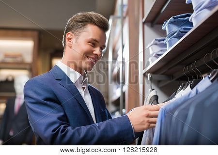 Smiling customer in a store