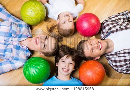 Family with bowling ball
