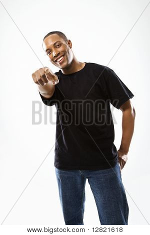 Young African-American male pointing at the viewer.