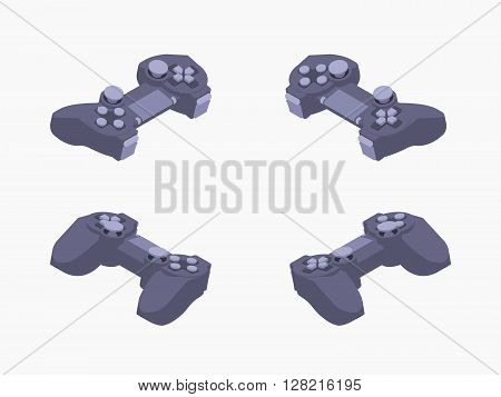 Set of the isometric black gamepads. The objects are isolated against the white background and shown from different sides