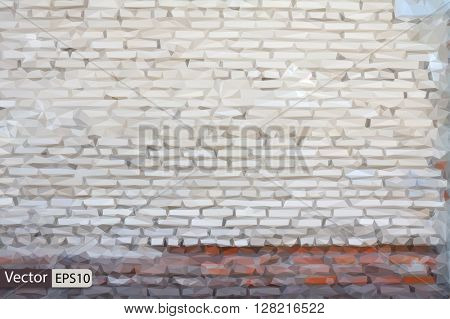 Vector bright low poly brick wall grungy grey texture
