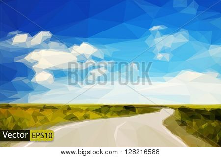Vector low poly country road in the fields