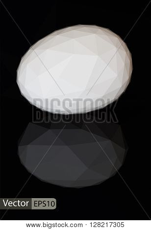 Vector triangle low-poly white egg on black background with refl