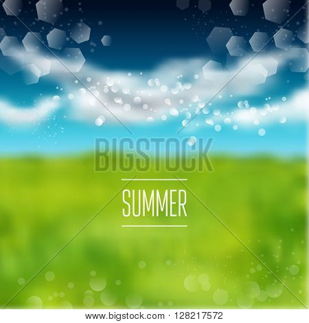 Spring and summer watercolor Blurry green field and blue sky Vector illustration. background with shining sparks and bokeh. Vector Illustration, Graphic Design Editable For Your Design.