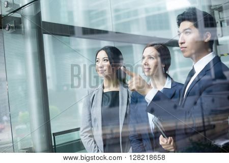 Business people discussing the target