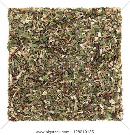 Goldenrod herb leaf used in natural alternative herbal medicine over white background. Solidago.
