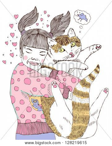 girl and cat illustration
