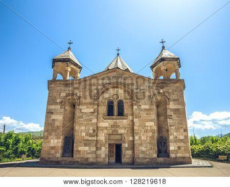 View of  ancient stone church. Exploring Armenia