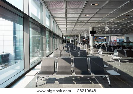 FRANKFURT, GERMANY - MARCH 13, 2016: inside of Frankfurt Airport. Frankfurt Airport is a major international airport located in Frankfurt and the major hub for Lufthansa