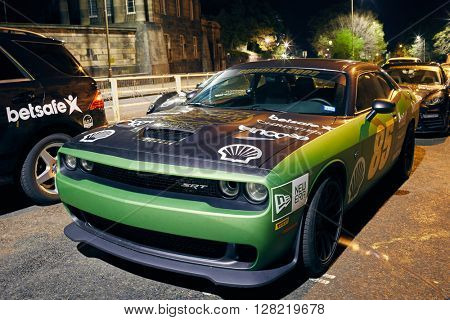 EDINBURGH MAY 1: Gumball 3000 rally cars staying overnight in Edinburgh, during the 2016 edition going from Dublin to Bucharest, May 1, 2016 in Edinburgh, UK