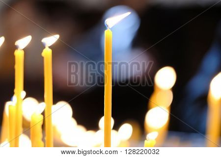 Candles in church, shallow depth of field